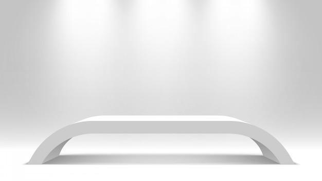Witte lege standaard. podium. tafel. voetstuk. illustratie.