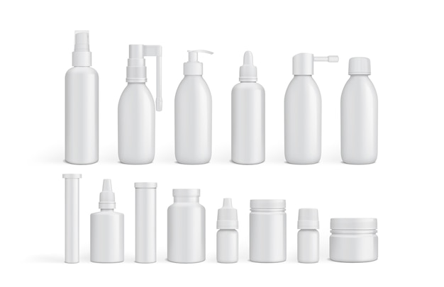 Witte lege verpakking geneeskundeflessen geïsoleerd op een witte achtergrond