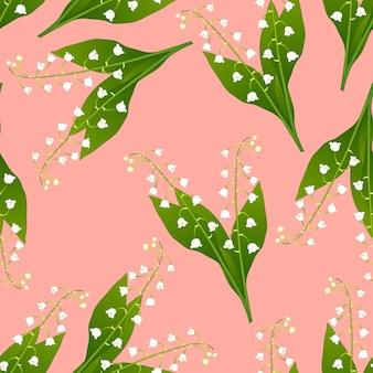 Witte lelietje-van-dalen op roze achtergrond