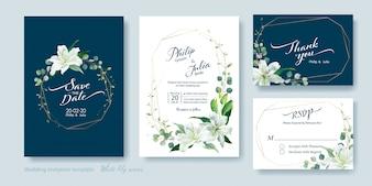Witte lily bloem bruiloft uitnodiging