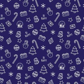 Witte lineaire cartoon kerstmis en nieuwjaar naadloze patroon met sneeuwbal, snoep, sneeuwvlokken, kalender, sneeuwpop
