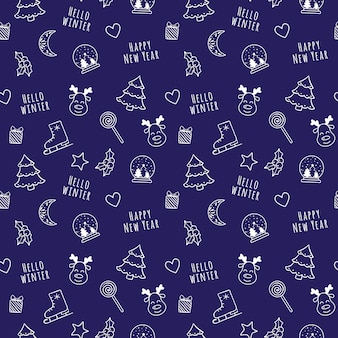 Witte lineaire cartoon kerstmis en nieuwjaar naadloze patroon met sneeuwbol, maan, hart, boom, cadeau, hulst
