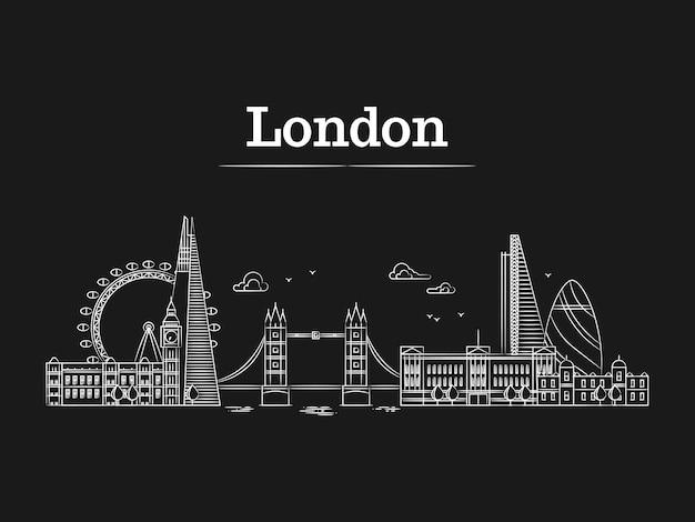 Witte lineaire londense skyline van de stad met beroemde gebouwen