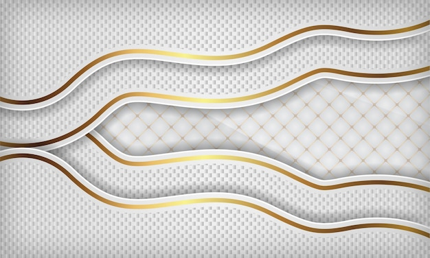 Witte luxe papieren golfachtergrond met gouden lijn