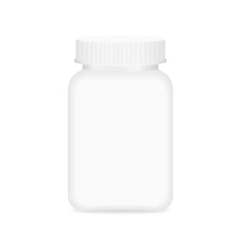 Witte medicijnfles, fles plastic witte verpakking enkele blanco voor sjabloonontwerp