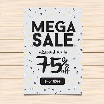 Witte mega verkoop banner en flyer illustratie