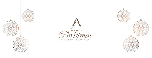 Witte merry christmas banner met kerstballen decoratie