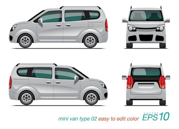 Witte minibus in verschillende weergaven