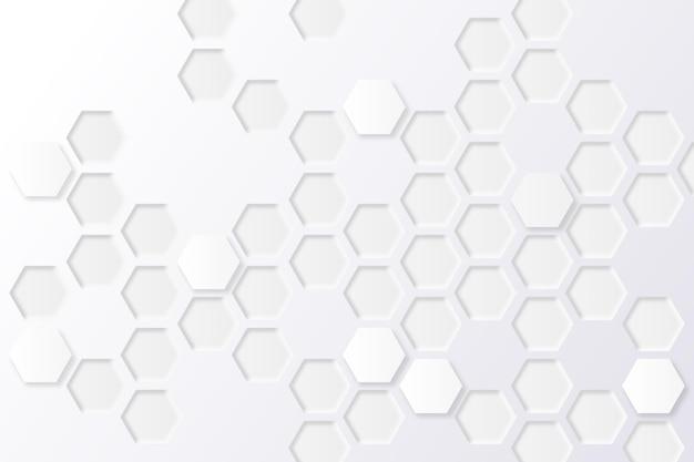 Witte minimale zeshoekige achtergrond Premium Vector
