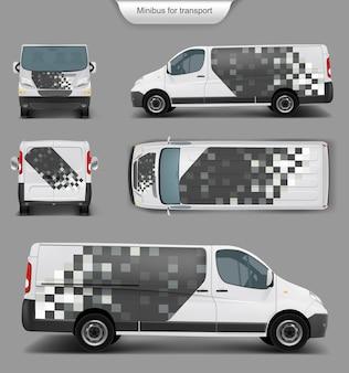 Witte minivan top. voorkant, achterkant, zijaanzicht