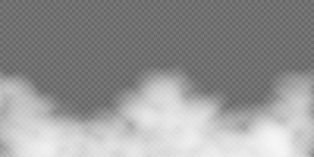 Witte mist of rook op transparante achtergrond.