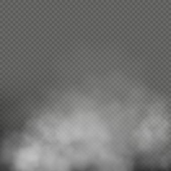 Witte mist, rook of nevel op transparante achtergrond. speciale effectcompositie.