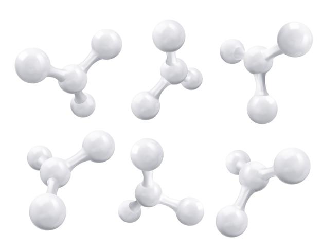 Witte molecuul of atoom, abstracte schone structuur.