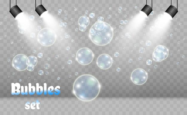 Witte mooie bellen op een transparante illustratie als achtergrond. zeepbellen.