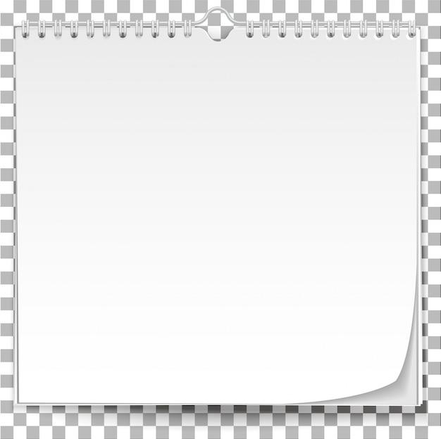 Witte muur kalendersjabloon op transparante achtergrond