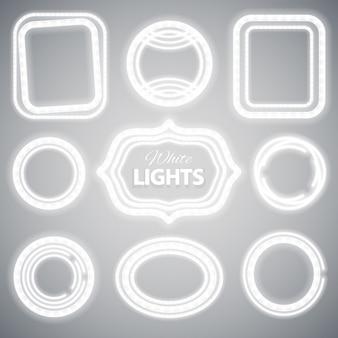 Witte neonlichtframes
