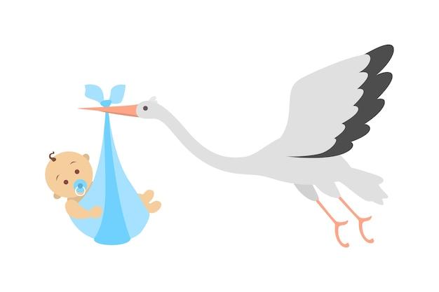 Witte ooievaar die met pasgeboren baby vliegt. aankondiging van de geboorte van een kind. wenskaart voor baby geboren feest. illustratie