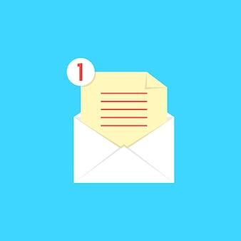 Witte open envelop met checklist en kennisgeving. concept van nieuwsbrief, informeren, ondersteunen, tegengaan, bevestigen. geïsoleerd op blauwe achtergrond. vlakke stijl trend moderne logo ontwerp vectorillustratie