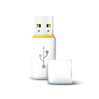 Witte open usb-flashdrive op witte achtergrond. overdracht en opslag van gegevens, informatie