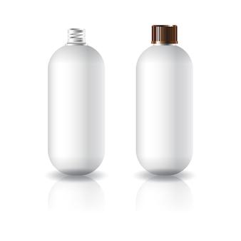 Witte ovale ronde cosmetische fles met gegroefd schroefdeksel.