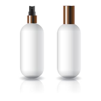 Witte ovale ronde cosmetische fles met sproeikop en deksel.