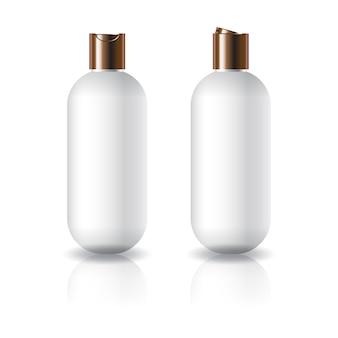 Witte ovale ronde cosmetische fles