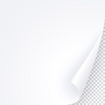Witte pagina met gekrulde hoek, lege papieren sjabloon