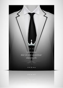 Witte pak en smoking met zwarte stropdas