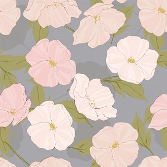 Witte papavers ingewikkelde vector naadloos patroon. retro bloesem illustratie. poppy elegance texture. roze bloemenmotief.