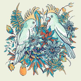 Witte papegaai vintage tropische bloemen natuurlijke collectie.