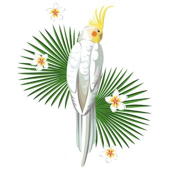 Witte papegaaivogel met plantenprint