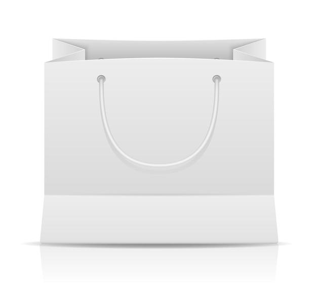 Witte papieren boodschappentas voorraad vectorillustratie geïsoleerd op background