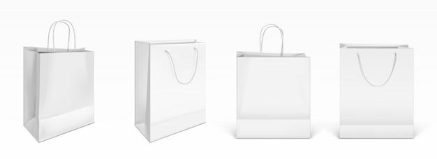 Witte papieren boodschappentassen