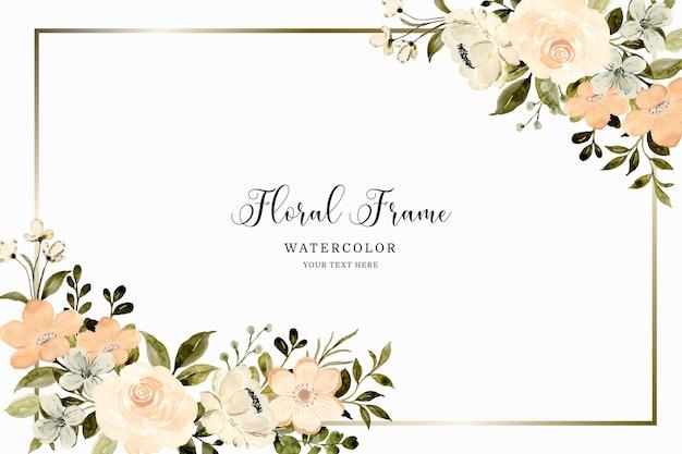 Witte perzik bloemen aquarel met gouden frame