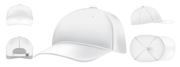 Witte pet. sport caps bovenaanzicht, honkbalhoed en uniformhoeden bekijken realistische 3d-set. vrijetijdskleding, mode, streetstyle-kleding. modern hoofdtooi voor, boven, zij, achteraanzicht pack