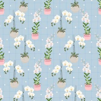 Witte phalaenopsis en dendrobium orchidee op blauw geruite naadloze patroon voor inpakpapier