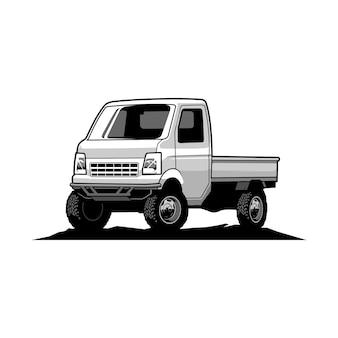 Witte pick-up illustratie