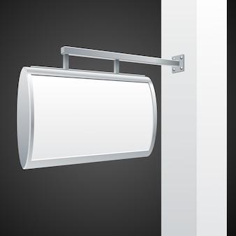 Witte pijler met lege bord illustratie