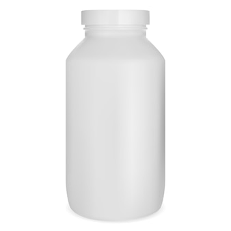 Witte pil fles, medicijnpot mockup, supplement capsule kan geïsoleerd op een witte achtergrond. medische tablet drugs fles sjabloon, apotheek recept remedie product illustratie