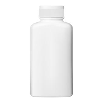 Witte pillenfles. plastic vitaminepot, vectorcapsuleverpakking. medische tablet fles sjabloon close-up. illustratie van aspirinepot