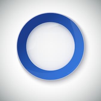 Witte plaat met blauwe rand.