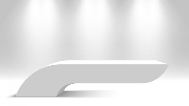 Witte plank. leeg podium met schijnwerpers. voetstuk. illustratie.