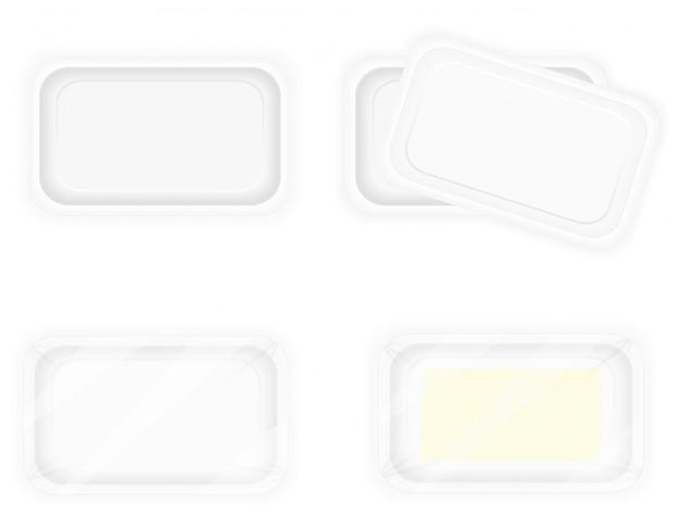 Witte plastic containerverpakking voor voedsel.
