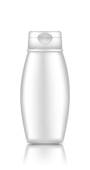 Witte plastic cosmetische fles mockup geïsoleerd van de achtergrond