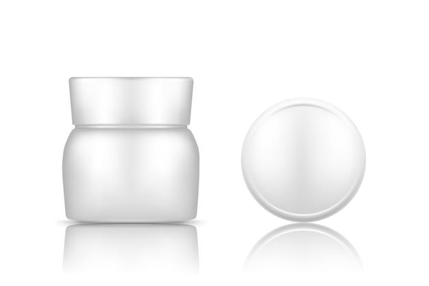 Witte plastic cosmetische pot met dop bovenaanzicht mockup geïsoleerd van de achtergrond