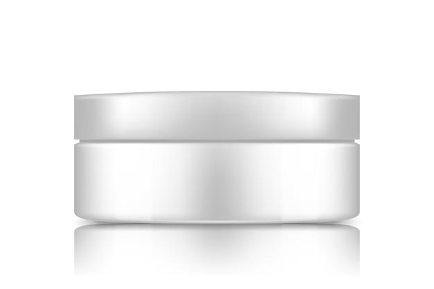 Witte plastic cosmetische pot met dop mockup geïsoleerd van de achtergrond