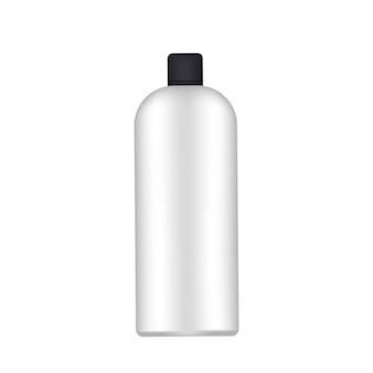 Witte plastic fles met een zwarte dop. realistische fles. goed voor shampoo of douchegel. geïsoleerd. vector.