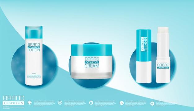 Witte plastic flessen voor cosmetische crèmes, lotions, shampoo en gels met blauwe doppen