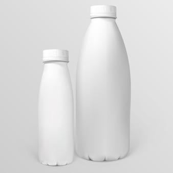 Witte plastic flessen voor zuivelproducten
