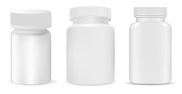 Witte plastic pillenfles, supplementpot, vitaminepakket